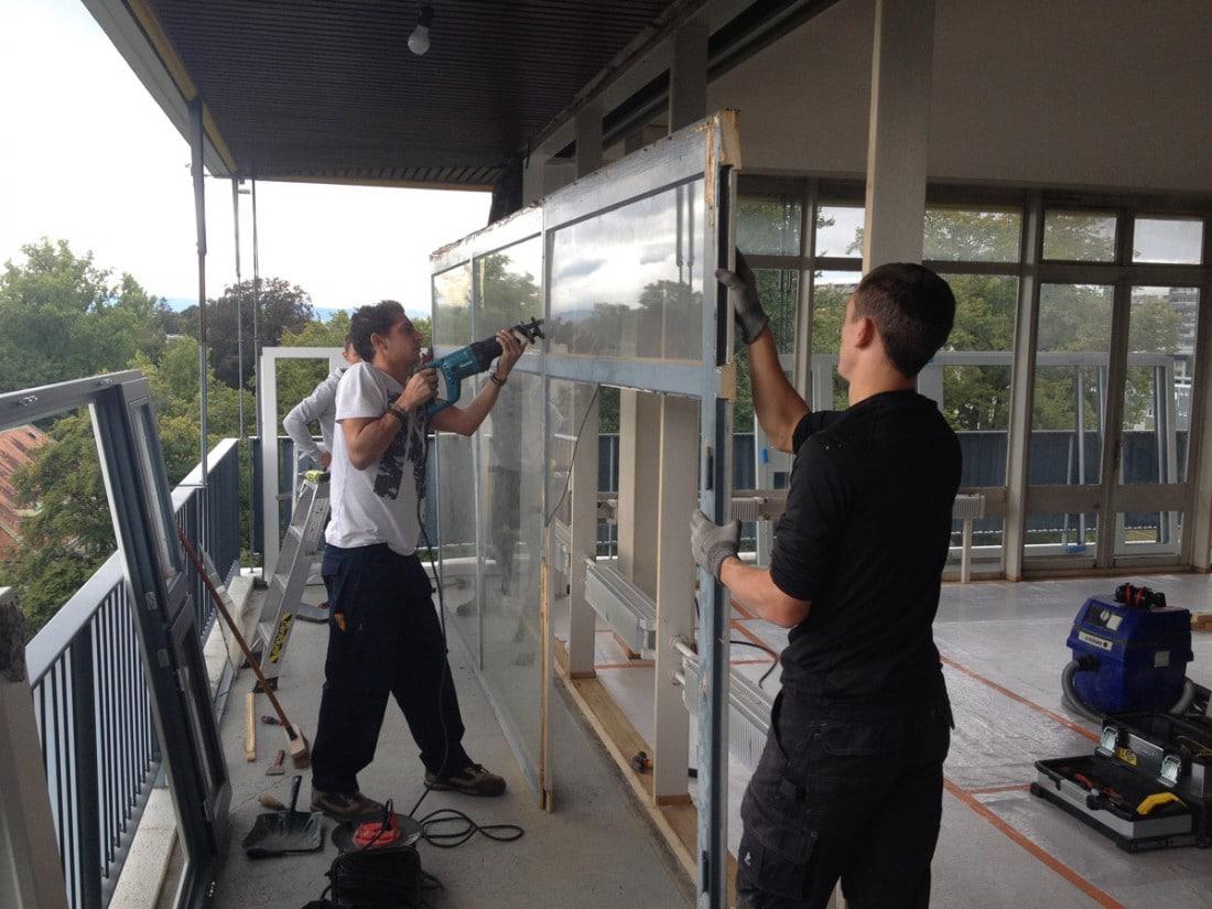 Paroi vitrée en bois rénovation